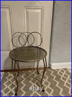 1950s Mid Century small brass vanity makeup stool bench chair Hollywood Regency