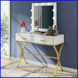 2 Drawers Makeup Vanity Set Dressing Table Hollywood-Style Mirror with 9 Bulbs