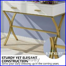 2 Drawers Vanity Dressing Table Hollywood Style Mirror with 9 Bulbs Makeup Table