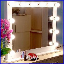 23Hollywood Makeup Vanity Mirror White with LED Light Stage Large Beauty Mirror