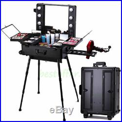 30 Design Vanity Light up Mirror Rolling Makeup Trolley Train Case Box Organizer