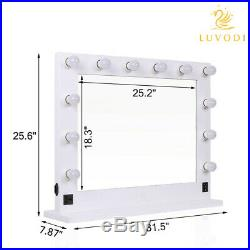 32 Large White Hollywood Makeup Vanity Mirror with 12 Lights Beauty Mirror Dimmer