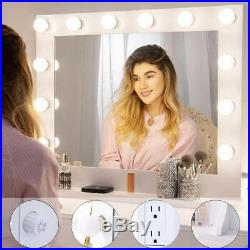 32 White Hollywood Makeup Vanity Mirror with 14 LED Light Stage Large Beauty