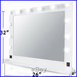 32 White Hollywood Makeup Vanity Mirror with Light Dimmer Stage Beauty Mirror B