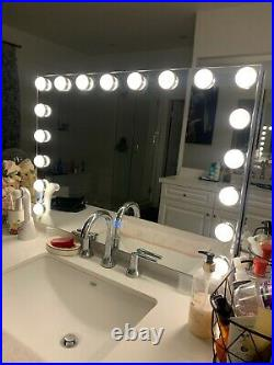 32inch Hollywood Makeup Mirror with 18 LED Bulbs Cosmetic Vanity USB Charging