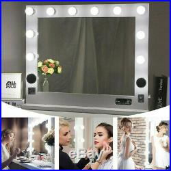 32x26in HD Hollywood Vanity Mirror with BT Speakers 10 LED Lights Dual Outlets USB