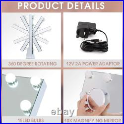 360° Rotation Hollywood Makeup Mirror with Lights, Vanity Mirror with 15pcs &