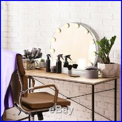 Adjustable Mirror Makeup Vanity Hollywood Style 3 Color Lighting Modes Round