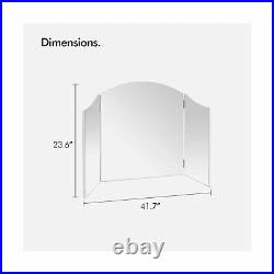 Beautify Large Vanity Trifold Makeup Mirror Folding Tabletop Hollywood Cosmet