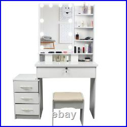 Bedroom Makeup Vanity Table Set Writng Desk Dressing Table with Hollywood Mirror