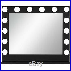 Black Hollywood Makeup Vanity Mirror with Light Stage Large Beauty Mirror Dimmer
