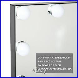 Black Large Beauty Mirror Hollywood Makeup Vanity Mirror with Light Stage US