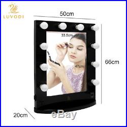 Blk/White Vanity Lighted Hollywood Makeup Mirror with Dimmer Stage Beauty Mirror