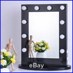 Chende Black Vanity Lighted Hollywood Makeup Mirror with Dimmer Beauty Mirror