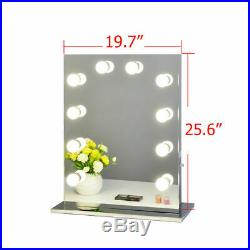 Chende Frameless Vanity Mirror Hollywood StyleTabletop Mirror with LED Bulbs