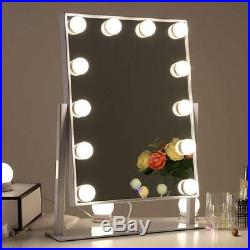 Chende Glossy White Lighted Vanity Mirror with Dimmable LED Bulbs, Hollywood