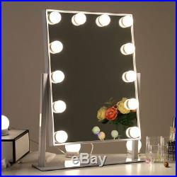 Chende Glossy White Lighted Vanity Mirror with Dimmable LED Bulbs Hollywood S