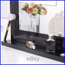 Chende Hollywood Lighted Makeup Vanity Mirror Aluminum Dimmer Black+14 LED bulbs