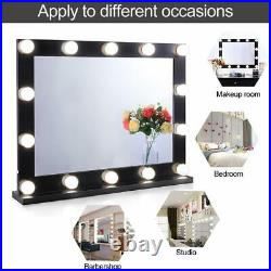 Chende Hollywood Makeup Mirror with 14 LED Bulbs Lighted Vanity Mirror Tabletop