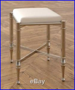 Chrome Vanity Stool Padded Hollywood Glam Make-Up Chair Bedroom Bathroom Seat