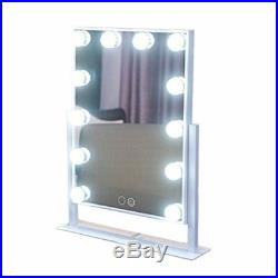 Cosmetic Table Makeup Mirror With Touch Led Light Vanity Hollywood Style White