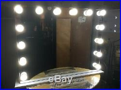 Custom Frameless Hollywood Glamour Lighted Vanity Mirror with Built-in Outlet