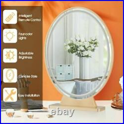 DuraHollywood Vanity Lighted Makeup Mirror Remote Control 4 Color Dimming-Golden