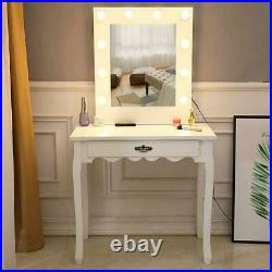FCH Makeup Vanity Table Set with 10Led Lighted Hollywood Mirror & Drawers White