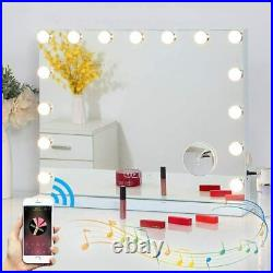 FENCHILIN Bluetooth Hollywood Vanity Makeup Mirror Lights Tabletop or Wall White