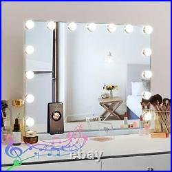 FENCHILIN Large Bluetooth Vanity Mirror with Lights, Hollywood Lights Mirror for