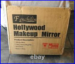 FENCHILIN Large Hollywood Makeup Vanity Mirror with 15 Dimmable LED Lights NEW