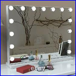 FENCHILIN Large Hollywood Vanity Lighted Makeup Tabletop Wall Mount Mirror White