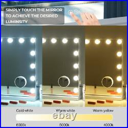 FENCHILIN Large Hollywood Vanity Makeup Mirror with Bluetooth Dimmable Lights