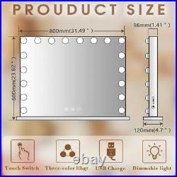 FENCHILIN Large Hollywood Vanity Mirror with Lights LED Lighted for Makeup White