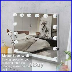 FENCHILIN Large Vanity Mirror with Lights and Charging Port Hollywood Lighted