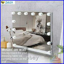 FENCHILIN Large Vanity Mirror with Lights and Charging Port, Hollywood Lighted M