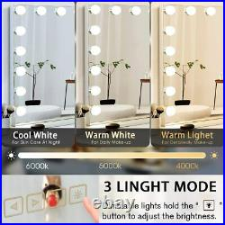 FENCHILIN Vanity Makeup Mirror Bluetooth with Lights Large Hollywood Wall Mirror