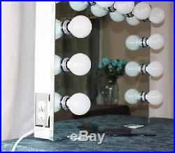 Frameless Hollywood Style Lighted Vanity Mirror White with Chrome trim