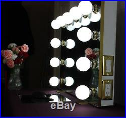 Frameless Hollywood Style Lighted Vanity Mirror White with Gold trim