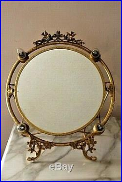 GOLD TONE Vintage 4 Lighted Hollywood Makeup FLIP Vanity DOUBLE Mirrors