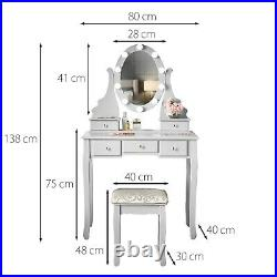 Grey Makeup Dressing Table Hollywood LED Light Mirror 5 Drawers Stool Vanity Set
