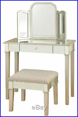 GwG Outlet Hollywood Glamour Designed Makeup Vanity in Silver Finish