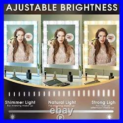 Hansong LARGE Vanity Makeup Mirror W Lights Hollywood Lighted Dressing Tabletop