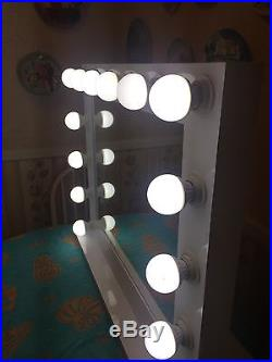 Hollywood 32 Lighted Vanity Mirror with14 LED Bulbs Cont Table Top Or Wall Mount