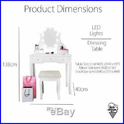 Hollywood Bulbs Vanity Mirror Dresser Set Light up Desk with Dimmer and Stool