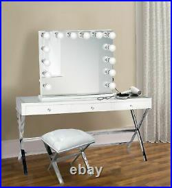 Hollywood GLM style32Lighted Vanity Mirror with14Dimmer Bulbs White side and base