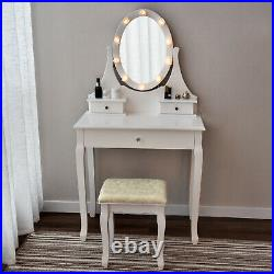 Hollywood LEDs Lights Mirror Makeup Vanity Table Set Dressing Table Stool Set US