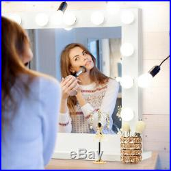 Hollywood Lighted Makeup Vanity Dressing Mirror Tabletop Mirror Dimmer LED White