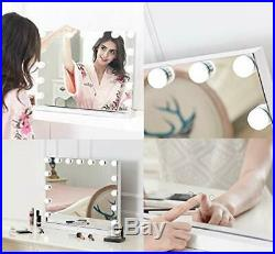Hollywood Lighted Vanity Mirror with 15 Dimmable Bulbs USB Charging port 3 Li