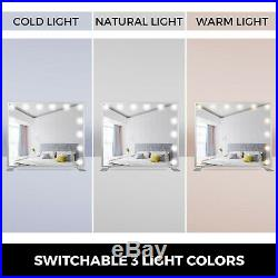 Hollywood Makeup Mirror Lighted Vanity Mirror Smart Touch Bedroom Square Silver